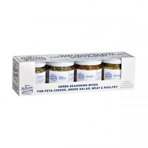 herbs seasoning mixes for feta cheese, greek salad, meat, poultry set collection selection
