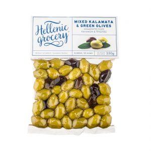 green and kalamata olives in Vaccum