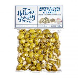 green olives in Vaccum oregano garlic