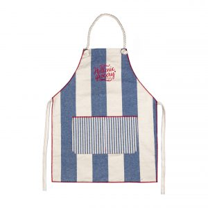 apron striped blue white front pocket Hellenic Grocery