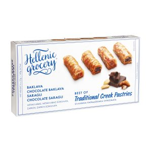 traditional greek sweet selections collection baklava saragli with chocolate