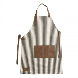 apron striped brown beige leather pocket details Spitiko