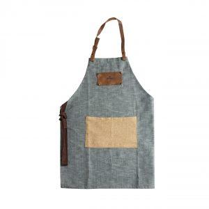 apron grey beige pocket suede details Spitiko