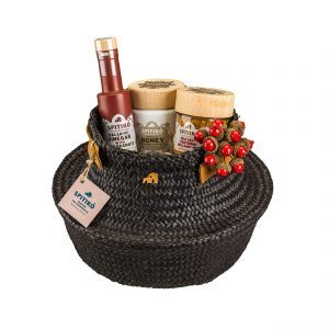 Pyrros seagrass black basket gift box